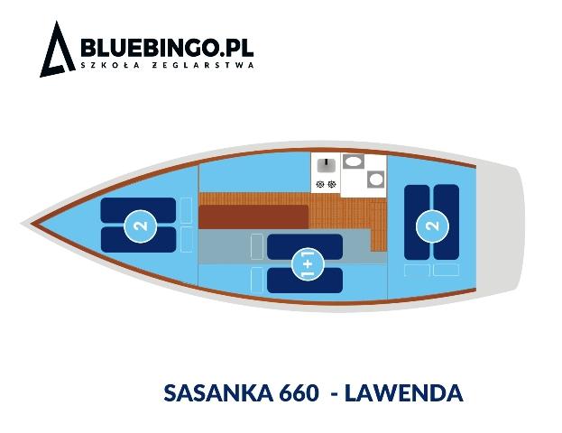 schemat wnetrza jachtu sasanka 660